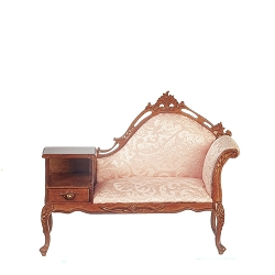 1:12 Scale JBM Miniature Victorian Walnut Parlor Phone Sofa