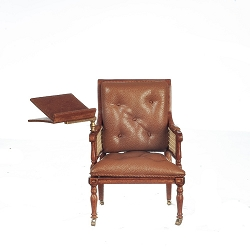 1:12 Scale JBM Miniature Walnut Upholstered Armchair with Adjustable Writing Table
