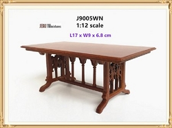 1:12 Scale JBM Miniature 1760 Walnut Trestle Table