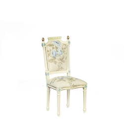 1:12 Scale JBM Miniature White & Floral Dining Room Chair