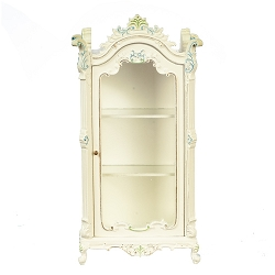 1:12 Scale JBM Miniature White & Floral Display Cabinet