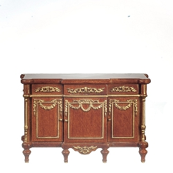 1:12 Scale JBM Miniature Walnut Buffet Table with Elegant Gold Trim