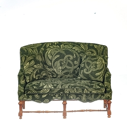 1:12 Scale JBM Miniature Green Fleur Walnut Settee