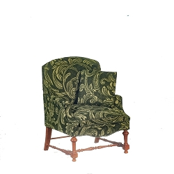 1:12 Scale JBM Miniature Green Fleur Walnut Living Chair