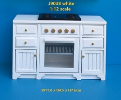 1:12 Scale JBM Miniature Farmhouse Kitchen Stove (Walnut/White)