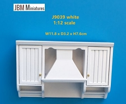1:12 Scale JBM Miniature Farmhouse Kitchen Range Hood (Walnut/White)