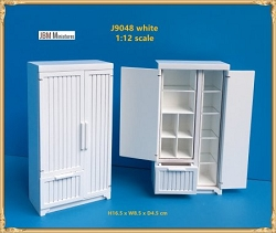 1:12 Scale JBM Miniature Farmhouse Kitchen Refrigerator (Walnut/White)