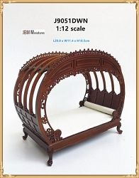1:12 Scale JBM Miniature Chinese Chippendale Walnut Double Bed