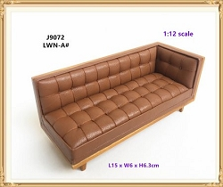 1:12 Scale JBM Miniature Modern Mid-Century Leather Sectional
