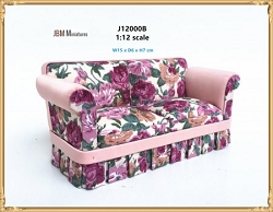 1:12 Scale JBM Miniature Modern Red Floral Sofa