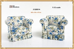 1:12 Scale JBM Miniature Modern Country Blue Floral Armchair