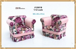 1:12 Scale JBM Miniature Modern Country Red Floral Armchair