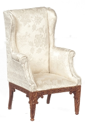 1:12 Scale JBM Miniature Chinese Chippendale Walnut Wing Chair