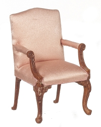 1:12 Scale JBM Miniature French Pink Upholstered Walnut Armchair