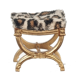 1:12 Scale JBM Miniature Egyptian X-Frame Gold Stool
