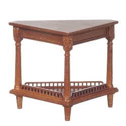 1:12 Scale JBM Miniature Gallery Fence Walnut Corner Table