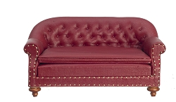 1:12 Scale JBM Miniature 1880 Walnut & Red Club Sofa