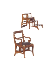 1:12 Scale Platinum Miniature Walnut Combination Chair/Steps