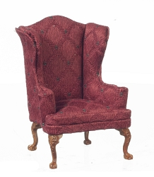 1:12 Scale Platinum Miniature Burgundy & Walnut High Back Armchair