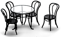 1:12 Scale Miniature 5pc. Black Patio Table & Chairs Set
