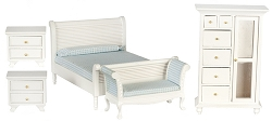 1:12 Scale Miniature 5pc. Beach Cottage Bedroom Set
