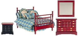 1:12 Scale Miniature Cottage Chic Double Bed Bedroom Collection
