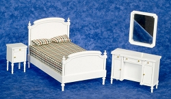 1:12 Scale Miniature 4-Piece White Double Bed Collection