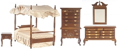 1:12 Scale Walnut Canopy Bedroom Collection