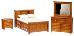 1:12 Scale Mountain Cabin 3pc. Walnut Bedroom Collection