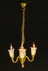 1:24 Scale Cir-Kit Miniature 3-Up Arm Tulip Chandelier