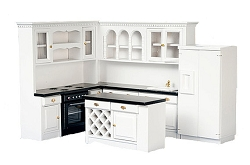 1:12 Scale Miniature Black & White Kitchen Collection