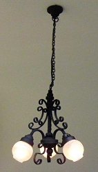 1:12 Scale Cir-Kit Miniature 3-Arm Filigree Chandelier (Black/White)