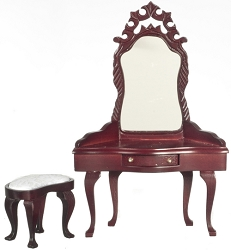 1:12 Scale Miniature Crown Dressing Table with Stool
