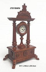 1:12 Scale JBM Miniature Victorian Walnut Mantle Clock