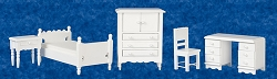 1:12 Scale Miniature 5pc. Classic Single Bedroom Set