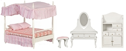 1:12 Scale Miniature 3pc. White & Pink Canopy Bed Set