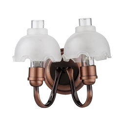 1:12 Scale Houseworks Miniature LED Copper Double Frosted Wall Sconce
