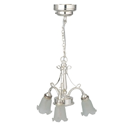 1:12 Scale Houseworks Miniature LED Silver 3-Arm Down Frosted Tulip Chandelier