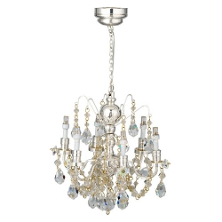 1:12 Scale Houseworks Miniature LED 6-Arm Silver Crystal Chandelier