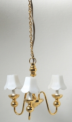 1:12 Scale Miniature 3-Arm White Candle Shade Chandelier