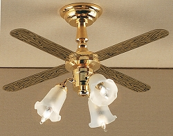 1:12 Scale Houseworks Miniature Frosted 3-Tulip Ceiling Fan 12-Volt