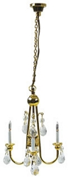 1:12 Scale Houseworks Miniature 3-Arm Brass & Crystal Chandelier