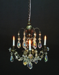 1:12 Scale Houseworks Miniature 3-Arm Nostalgia Crystal Chandelier