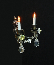 1:12 Scale Houseworks Miniature Double Candle Wall Sconce