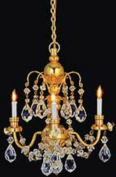 1:12 Scale Houseworks Miniature 3-Arm Brass Crystal Chandelier