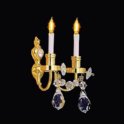 1:12 Scale Houseworks Miniature Double Candle Brass Crystal Wall Sconce