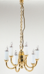 1:24 Scale Houseworks Miniature 6-Arm Candle Colonial Chandelier