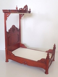 1:12 Scale JBM Miniature 1860 Hand Carved Timber Victorian Tester Bed