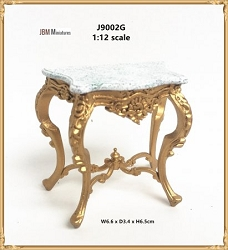 1:12 Scale JBM Miniature Classical Louis XVI Style Hand Carved Console Table (Gold/Walnut)