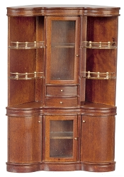 1:12 Scale  JBM Miniature Walnut Back Bar Cabinet
